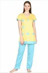 Cotton Yellow And Blue Ladies Night Suit, Top + Pyjama