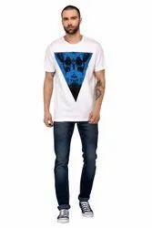 Round Half Sleeve Triangle Printed Cotton Men T Shirts