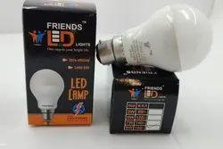 Aluminium White LED Lamp 9 W, B22, Shape: Round