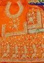 Satin Wedding Wear Orange Colour Designer Lehenga