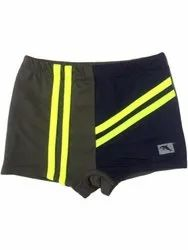 Polyester Blue and Green Boys Regular Fit Swimming Shorts