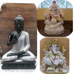 Marble Buddha and Ganesha Statue