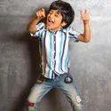 Athiya Cotton Dark Blue Striped Printed Casual Wear Kids Shirt, Size: S, L