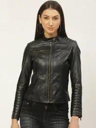 Full Sleeve Plain Ladies Black Slim Fit Leather Jacket