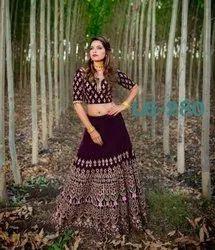Present Velvet Designer Red Bridal Look Lahenag Choli