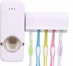 Plastic White Toothbrush Holder, Number Of Holder: 5