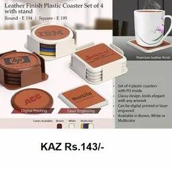 Leather Finish Plastic Coaster Set Of 4 With Stand