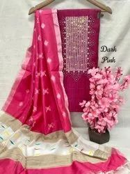 Cotton Bottom Slub Silk Tip With Fancy Hand Embroidery Dress Material, For Casual Wear