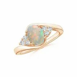 925 Sterling Silver Natural Fire Ethiopian Opal Stone Bypass Ring Jewelry