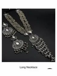 Brass Silver Ladies Long Artificial Necklace Set, Size: 16 Inch