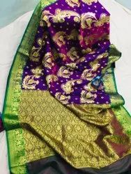Embroidered Party Wear Satin Saree, 6 m (with blouse piece)