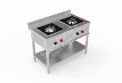 Silver Two Burner Gas Stove, For Kitchen, Model Name/Number: Hotel & Restaurant Etc