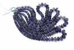 Good Quality Natural Iolite Gemstone Smooth 6-12.5 Mm Roundel Shape Stone Beads 1 Strand