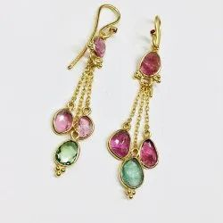 Sterling Silver 925 Gold Plated Multi Color Tourmaline Earrings