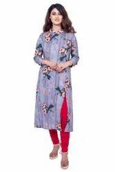 Rayon Casual Wear Flower Print Ladies Suit