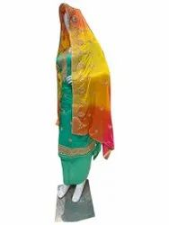 Semi-Stitched Sea Green Ladies Chanderi Cotton Suit, Machine wash