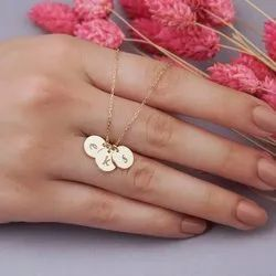 18 Inch Disc Tiny Monogram Dainty Initials Necklace