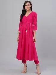 Pink & Golden Gotta Patti Solid Angrakha Anarkali Kurta with Crop Trousers