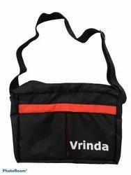 Vrinda Black 12 Inch PU Coated Sling Bag, For Casual Wear