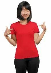 Half Sleeve Red Unisex Round Neck T Shirt