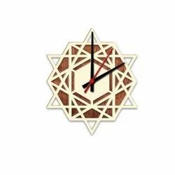 Brown Analog Star Design Wooden Wall Clock, For Home