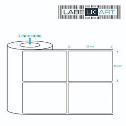 White Paper Chromo Label 45x75mm 2 up ( 1500 Labels), Packaging Type: Roll