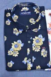 Jungle Man Blue Men Cotton Printed Shirt, Size: 38