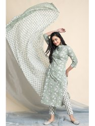 Janasya Women's Light Green Cotton Kurta With Pant And Dupatta(J0108)