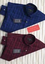 Checks Collar Neck Mens Cotton Shirts, Machine wash, Size: S-xxl