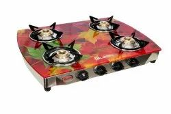 Toughened Glass Quba 4 Burners Green Flower Gas Stove, For Kitchen