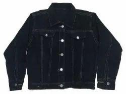Full Sleeve Casual Jackets Ladies Denim Black Jacket