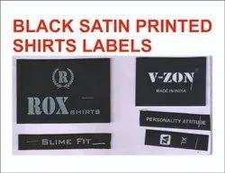 Black Satin Printed Shirt Label