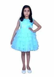 sky blue Net Kids Floral Applique Party Dress, Age Group: 1-to 12 Years, Size: 1 To 12 Years