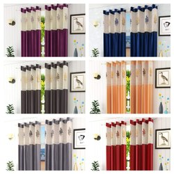 SRF Embroidery Net Patch Curtains (7 Feet)