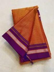 Plain Orange Printed Khan saree, With blouse piece, 6.20 Mtr