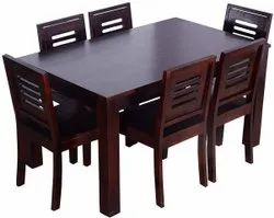 Rectangular Brown Wooden Dining Table Set, For Home