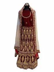 Mahron Wedding Wear Bridal Maroon Handwork Embroidered Velvet Lehenga Choli