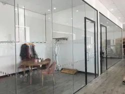 Transparent Toughened Glass Partition, For Office, Shape: Flat