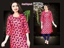 Silk Formal Wear Digital Printed Kurti, Wash Care: Dry clean
