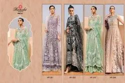 Semi Stitched 4 Color Available ANK Enterprise Heavy Embroidered Stylish Ner Salwar Suit