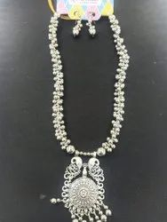 Party Wear Silver Plated Necklace Set