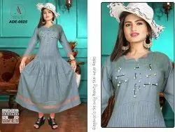 Adeena 3/4th Sleeve Charcoal Grey Hand Worked And Pleated Designer Kurti