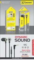 TP Troops Dynamic Sound Earphones (B & W) 7057 (Box-100)  Earphone