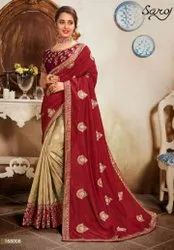 Red And Cream Half And Half Saree