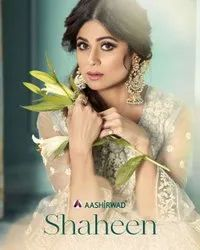 Aashirwad Creation Shaheen Butterfly Net With Full Embroidered Suit Catalog