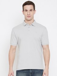 HARBORNBAY Men Grey Solid Polo Collar T-shirt