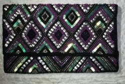 Black Cotton Ladies Designer beaded Hand Bag, For Party Wear