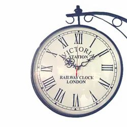 Iron Antique Classic European Style Victorian Double Sided Station Clock