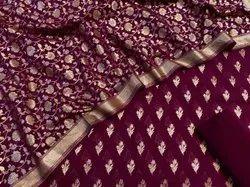 Banarsi Satan Dupion Silk Unstitched 17002 Banarasi Pure Chanderi Lorex Suit Fabric, Machine wash