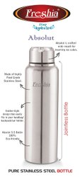Silver Polished ABSOLUT STAINLESS STEEL WATER BOTTLE